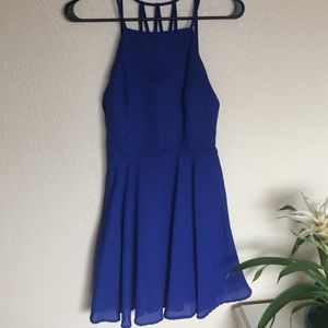 Lulus Blue Strappy Backed Mini Dress
